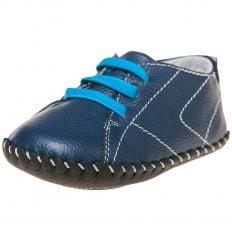 Little Blue Lamb - Zapatos de bebe primeros pasos de cuero niños | Zapatillas de deporte azul cordón azul