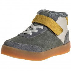 Little Blue Lamb - Soft sole boys Toddler kids baby shoes | Grey bootees