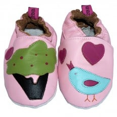 Krabbelschuhe Babyschuhe geschmeidiges Leder - Mädchen | Vogel