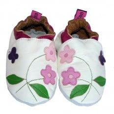 Chaussons de bébé cuir souple   Fleur rose