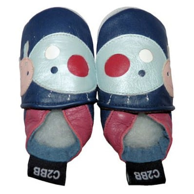 Soft leather baby shoes girls   Blue Beetle
