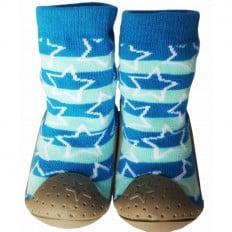 Hausschuhe - Socken Baby Kind geschmeidige Schuhsohle Junge | Stern Blau