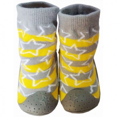 Baby boys Socks shoes with grippy rubber   Yellow stars