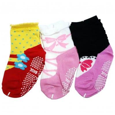 3 paia di calzini antisdrucciolo bambino di 1 a 3 anni | Ragazza 27
