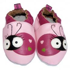 Zapitillas de bebe de cuero suave niñas antideslizante | Mariquita rosa