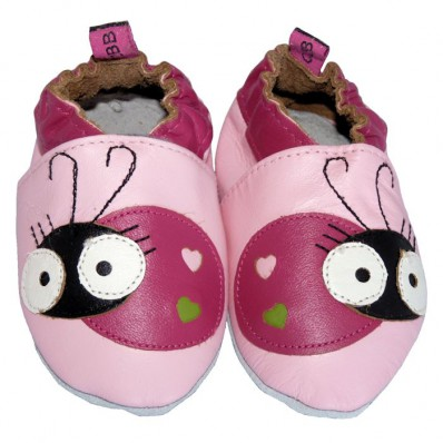 Soft leather baby shoes girls | Pink ladybird