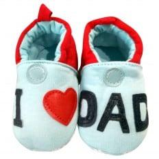 Chaussons bébé enfant toile et tissu | I love dad