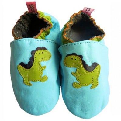 Krabbelschuhe Babyschuhe geschmeidiges Leder - Junge | Dinosaurier blau