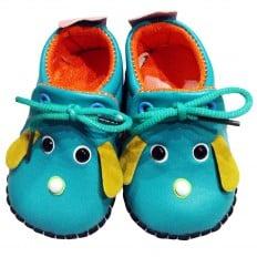 C2BB - Chaussures premiers pas cuir souple | Mr shoes bleu