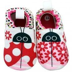 Zapatillas tejido para niños | Mariquita y flores