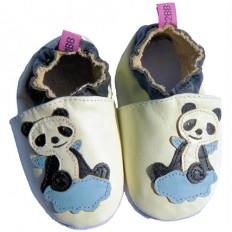 Krabbelschuhe Babyschuhe geschmeidiges Leder - Junge | Panda