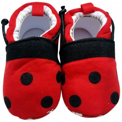 Soft cotton baby girls shoes | Red with black dots