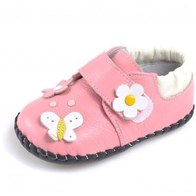 CAROCH - Baby girls first steps soft leather shoes | Pink colored flowers sandals