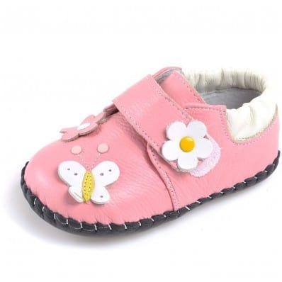 CAROCH - Chaussures premiers pas cuir souple | Babies rose fleurs couleurs