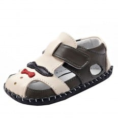 YXY - Zapatos de bebe primeros pasos de cuero niños | Mr Bigote gris