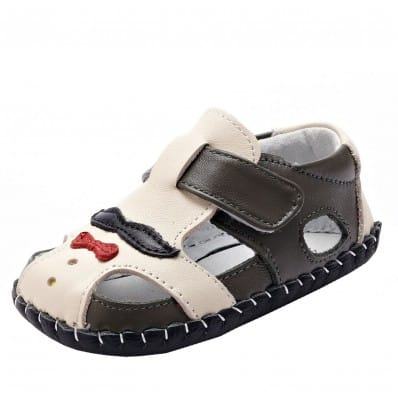 YXY - Baby boys first steps soft leather shoes | Mr Moustache grey