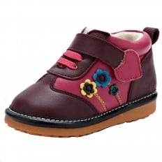 YXY - Squeaky Leather Toddler Girls Shoes | Fushia with flowers