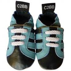 Chaussons bebe cuir souple | Baskets noires et turquoise