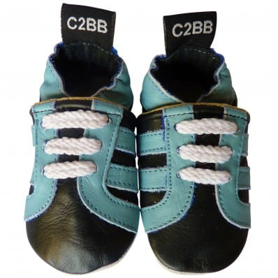 Soft leather baby shoes boys | Black sneakers