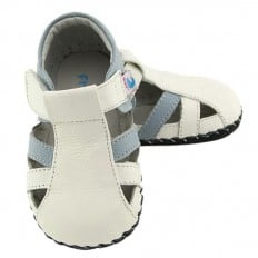 FREYCOO - Scarpine primi passi bimba in morbida pelle | Sandali blu bianco
