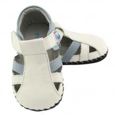 FREYCOO - Zapatos de bebe primeros pasos de cuero niños | Sandalias cerradas azules y blancas