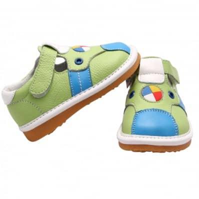 FREYCOO - Scarpine bimba primi passi con fischietto | Verde e blu sandali