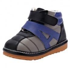 YXY - Zapatos de cuero chirriantes - squeaky shoes niños | Zapatilla de deporte negras venda azul