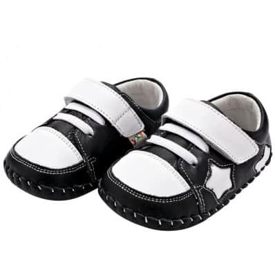 YXY - Chaussures premiers pas cuir souple | Noire étoile blanche