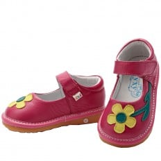 YXY - Squeaky Leather Toddler Girls Shoes | Pink yellow flower