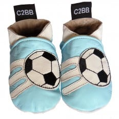 Soft leather baby shoes boys | Soccer blue