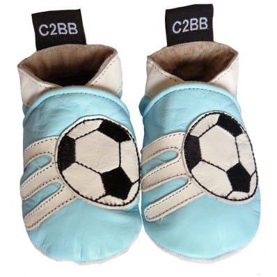 Zapitillas de bebe de cuero suave niños antideslizante   Fútbol azul