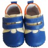 FREYCOO - Baby boys first steps soft leather shoes | Blue sneakers with blue star