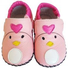 FREYCOO - Zapatos de bebe primeros pasos de cuero niñas | Signora cuore rosa