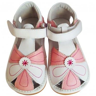 FREYCOO - Krabbelschuhe Babyschuhe squeaky Leder - Mädchen   Pink und weiß sandalen