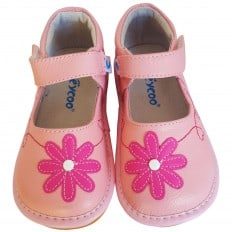 FREYCOO - Krabbelschuhe Babyschuhe squeaky Leder - Mädchen | Pink schuhe
