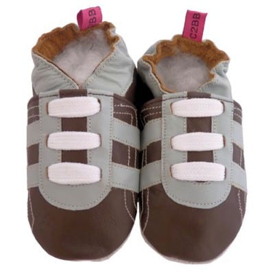 Chaussons bebe cuir souple | Basket marron