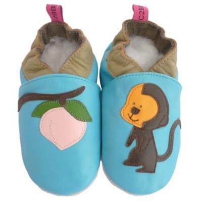 Zapitillas de bebe de cuero suave niños antideslizante   Pequeño mono