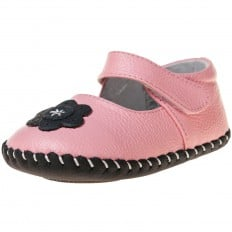 Little Blue Lamb - Baby girls first steps soft leather shoes | Pink babies black flower