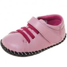 Little Blue Lamb - Chaussures premiers pas cuir souple   Baskets rose lacets fushia