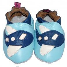 Zapitillas de bebe de cuero suave niños antideslizante | Avión azul