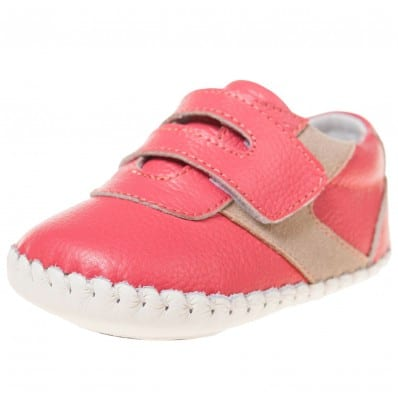 Little Blue Lamb - Baby girls first steps soft leather shoes | Salmon sneakers