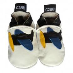 Chaussons bébé cuir souple | Avion noir