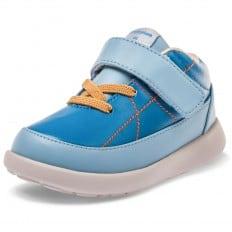 Little Blue Lamb - Zapatos de suela de goma blanda OG niños | Zapatillas de deporte azul los cordones anaranjados