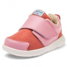 Little Blue Lamb - Soft sole girls toddler kids baby shoes OG | Pink and salmon sneakers