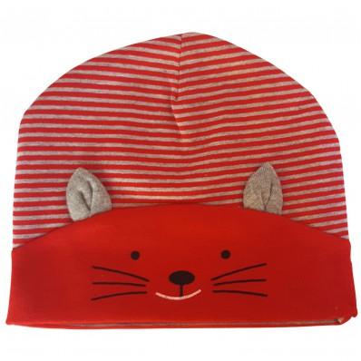 C2BB - cappello del bambino gattino - one size   Rosso e grigio