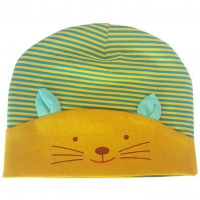 C2BB - cappello del bambino gattino - one size | Verde e giallo