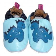 Chaussons de bébé cuir souple | Dino bleu