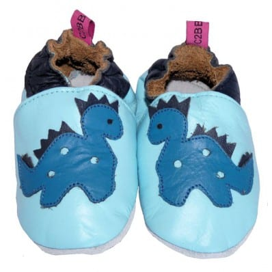 Soft leather baby shoes boys | Blue dinosaure