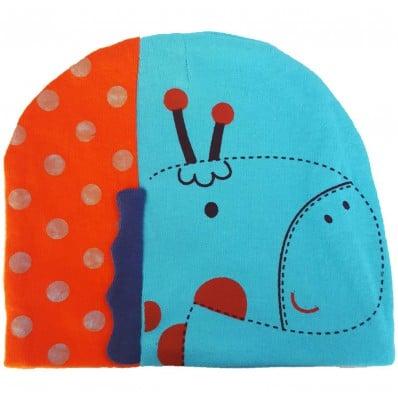 Bonnet bébé girafe - taille unique | Bleu et orange