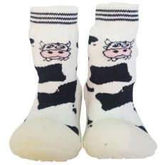 Baby boys girls Socks shoes with grippy rubber | Cow